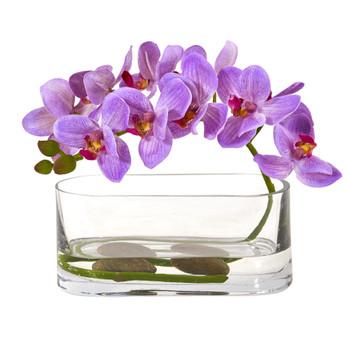 Phalaenopsis Orchid Artificial Arrangement in Glass Vase - SKU #1950