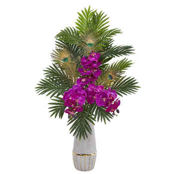 Phalaenopsis Orchid and Peacock Feather Artificial Arrangement - SKU #1951-PP
