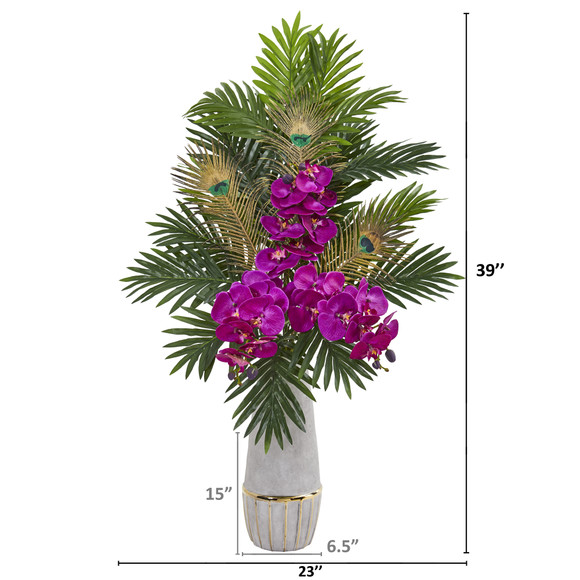 Phalaenopsis Orchid and Peacock Feather Artificial Arrangement - SKU #1951 - 3