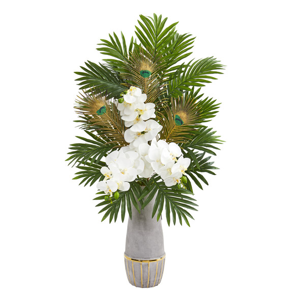 Phalaenopsis Orchid and Peacock Feather Artificial Arrangement - SKU #1951