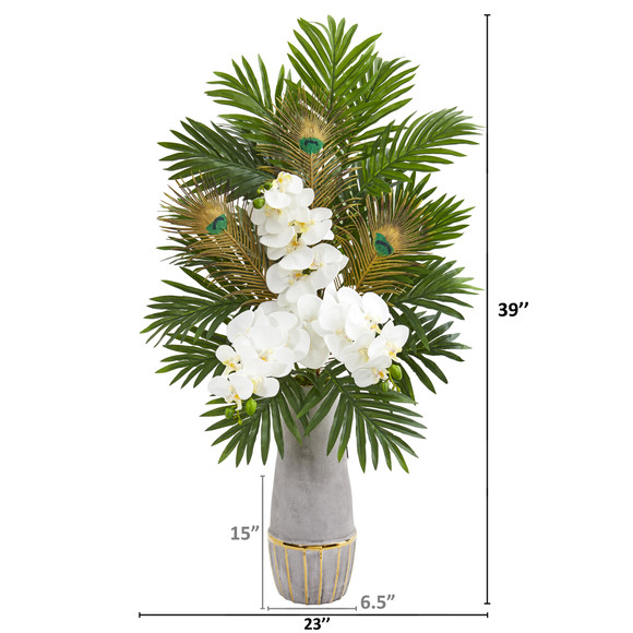 Phalaenopsis Orchid and Peacock Feather Artificial Arrangement - SKU #1951 - 1