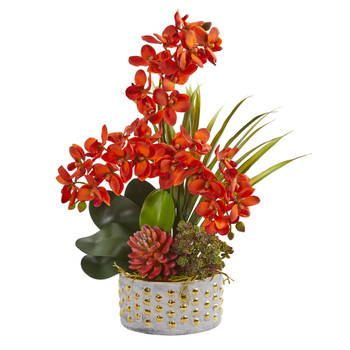 Autumn Phalaenopsis Orchid and Succulent Artificial Arrangement - SKU #1954-OG