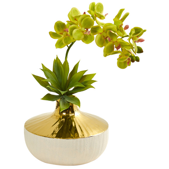 Phalaenopsis Orchid and Agave Artificial Arrangement in Vase - SKU #1955 - 6