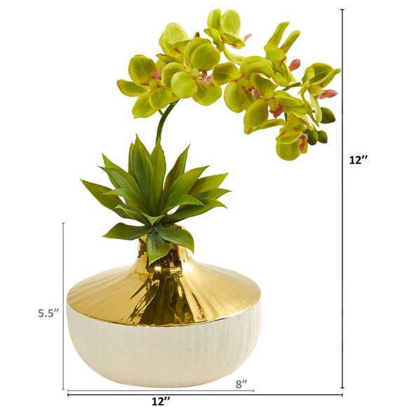 Phalaenopsis Orchid and Agave Artificial Arrangement in Vase - SKU #1955 - 7