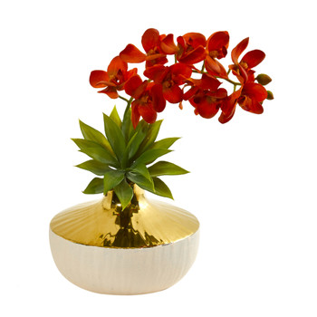 Phalaenopsis Orchid and Agave Artificial Arrangement in Vase - SKU #1955-OG