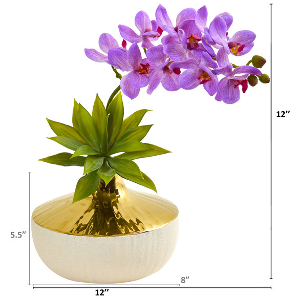 Phalaenopsis Orchid and Agave Artificial Arrangement in Vase - SKU #1955 - 3