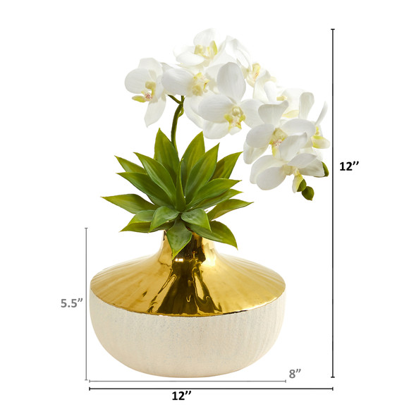 Phalaenopsis Orchid and Agave Artificial Arrangement in Vase - SKU #1955 - 1