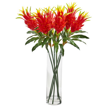 Dragon Fruit Flower Artificial Arrangement in Glass Vase - SKU #1958