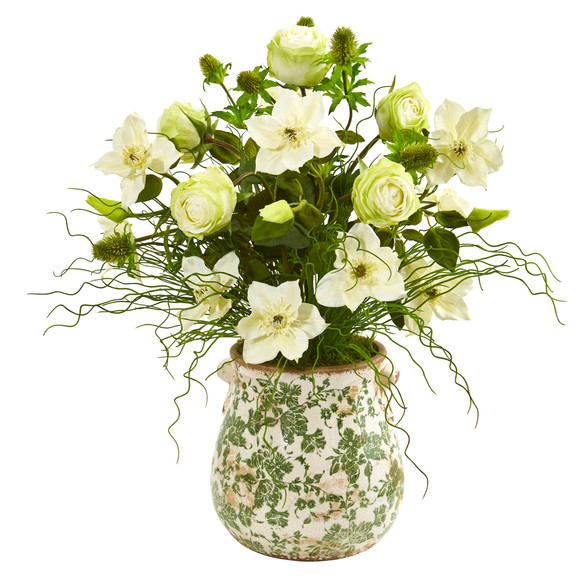25 Rose Mixed Floral and Grass Artificial Arrangement in Floral Vase - SKU #1959