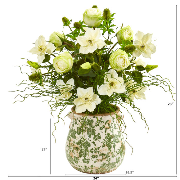25 Rose Mixed Floral and Grass Artificial Arrangement in Floral Vase - SKU #1959 - 1