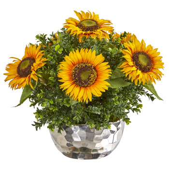 Sunflower Artificial Arrangement in Silver Vase - SKU #1960