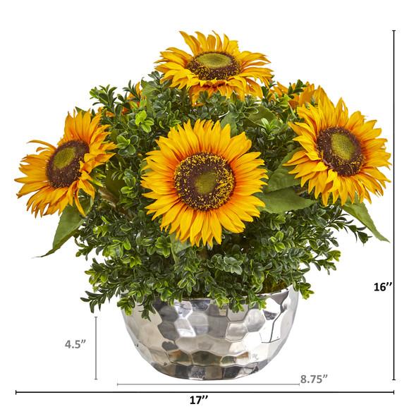 Sunflower Artificial Arrangement in Silver Vase - SKU #1960 - 1