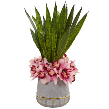 25 Cymbidium Orchid and Sansevieria Artificial Arrangement in Vase - SKU #1961