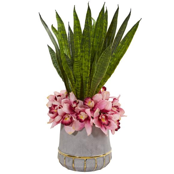25 Cymbidium Orchid and Sansevieria Artificial Arrangement in Vase - SKU #1961