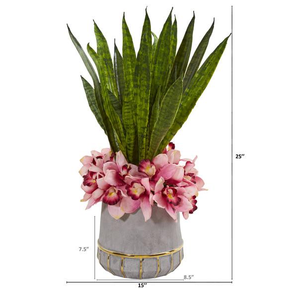 25 Cymbidium Orchid and Sansevieria Artificial Arrangement in Vase - SKU #1961 - 1