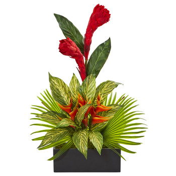 Tropical Artificial Arrangement in Black Vase - SKU #1962