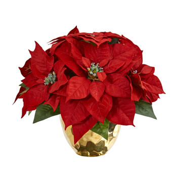 Poinsettia Artificial Arrangement in Golden Vase - SKU #1963