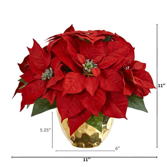 Poinsettia Artificial Arrangement in Golden Vase - SKU #1963 - 1