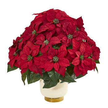 Poinsettia Artificial Arrangement in White Bowl - SKU #1964