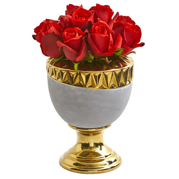 Elegant Red Rose Artificial Arrangement in Designer Urn - SKU #1965