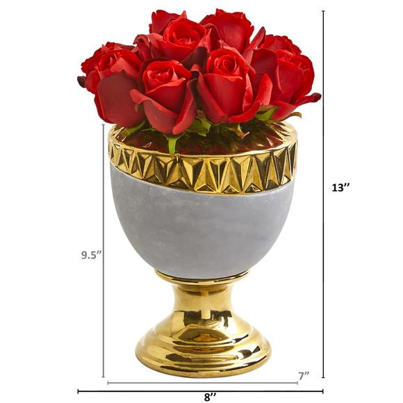 Elegant Red Rose Artificial Arrangement in Designer Urn - SKU #1965 - 1