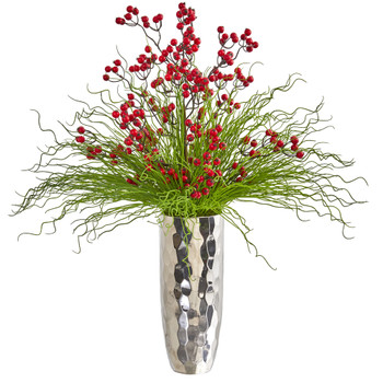 Berry and Grass Artificial Arrangement in Silver Vase - SKU #1966