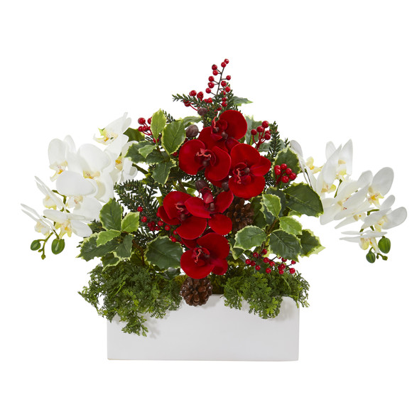 Phalaenopsis Orchid and Variegated Holly Artificial Arrangement - SKU #1968