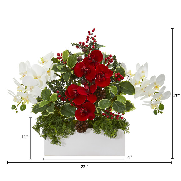 Phalaenopsis Orchid and Variegated Holly Artificial Arrangement - SKU #1968 - 1