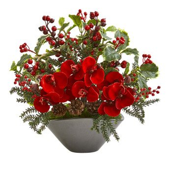 Phalaenopsis Orchid and Variegated Holly Berry Artificial Arrangement - SKU #1969