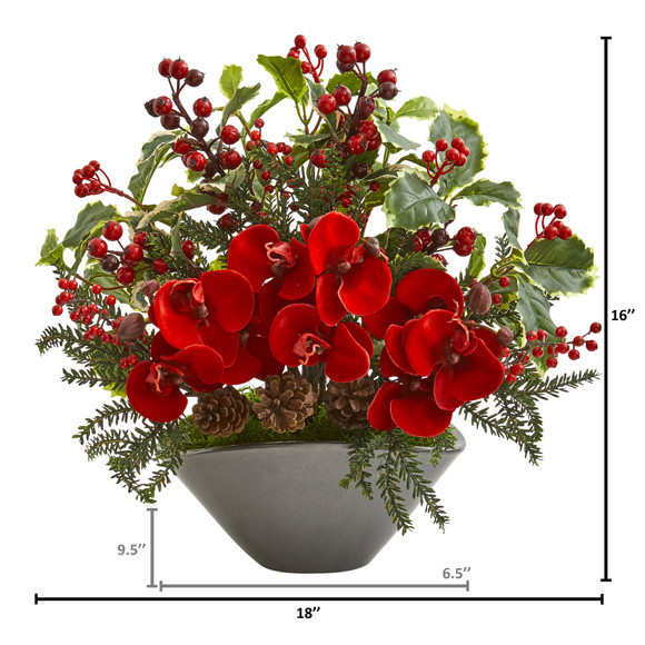 Phalaenopsis Orchid and Variegated Holly Berry Artificial Arrangement - SKU #1969 - 1