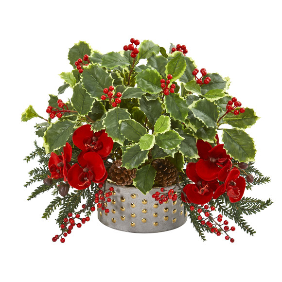 Phalaenopsis Orchid and Variegated Holly Leaf Artificial Arrangement - SKU #1970