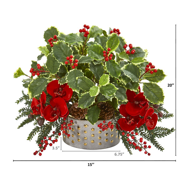 Phalaenopsis Orchid and Variegated Holly Leaf Artificial Arrangement - SKU #1970 - 1