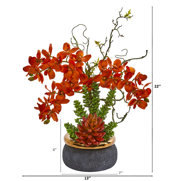 Autumn Phalaenopsis Orchid and Succulent Artificial Arrangement in Vase - SKU #1972 - 1
