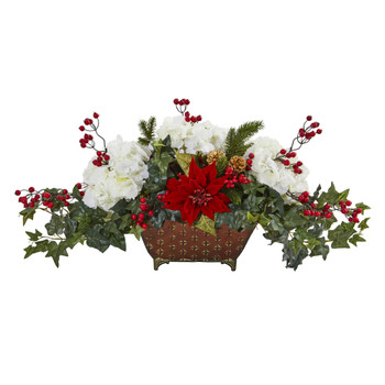 Poinsettia Hydrangea and Ivy Artificial Arrangement - SKU #1973