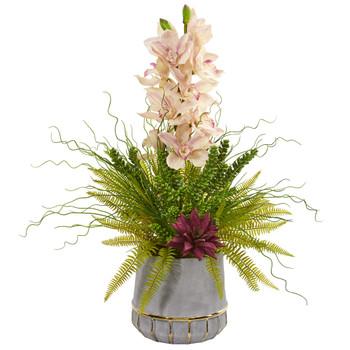 Cymbidium Orchid Succulent and Grass Artificial Arrangement - SKU #1974
