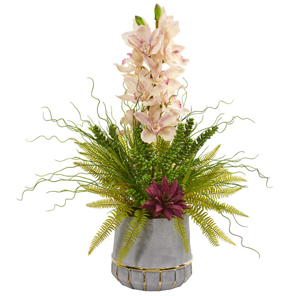 Cymbidium Orchid Succulent and Grass Artificial Arrangement - SKU #1974