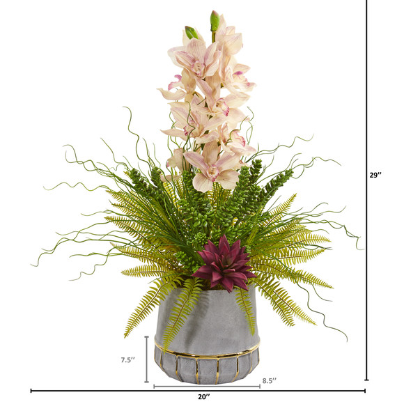 Cymbidium Orchid Succulent and Grass Artificial Arrangement - SKU #1974 - 1