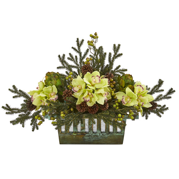 Cymbidium Orchid Artichoke Pine and Berries Artificial Arrangement - SKU #1975