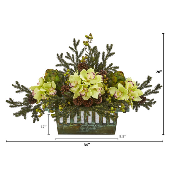 Cymbidium Orchid Artichoke Pine and Berries Artificial Arrangement - SKU #1975 - 1
