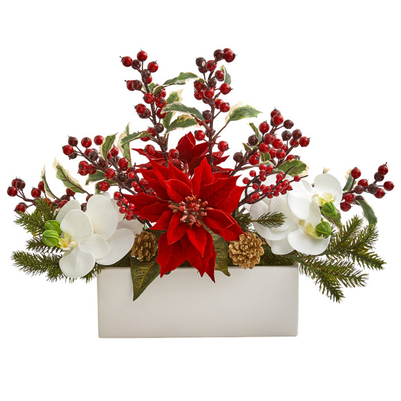 Phalaenopsis Orchid Poinsettia and Holly Berry Artificial Arrangement - SKU #1976