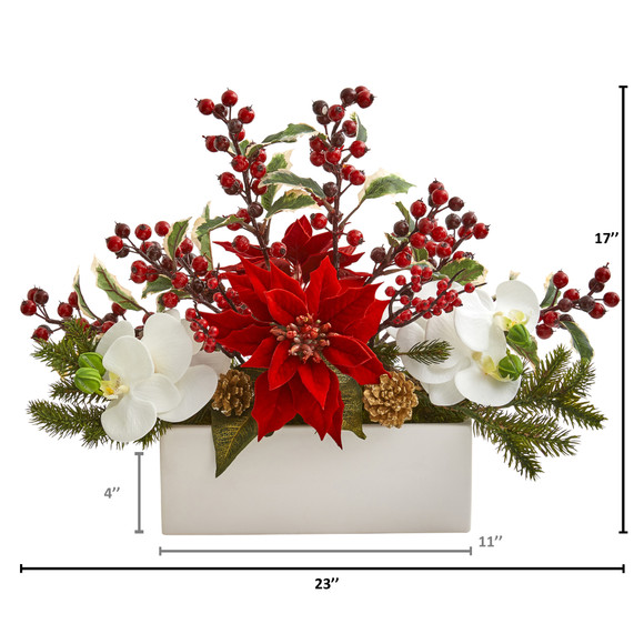 Phalaenopsis Orchid Poinsettia and Holly Berry Artificial Arrangement - SKU #1976 - 1