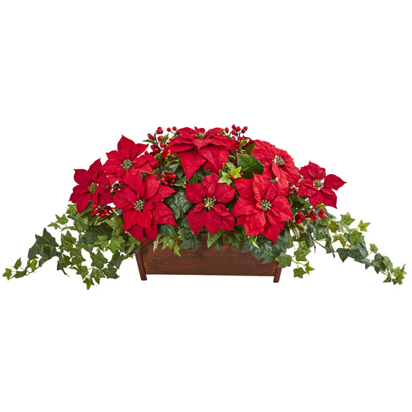 Poinsettia Puff Ivy and Holly Berry Artificial Arrangement - SKU #1977