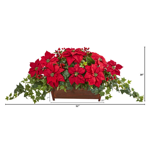 Poinsettia Puff Ivy and Holly Berry Artificial Arrangement - SKU #1977 - 1