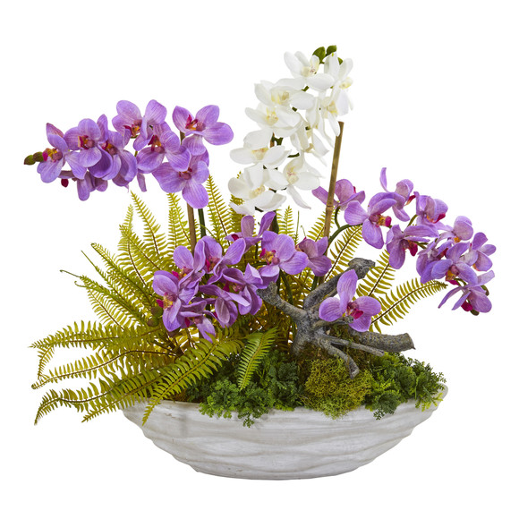 Phalaenopsis Orchid and Fern Artificial Arrangement - SKU #1979