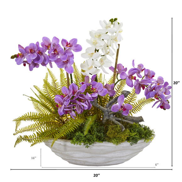 Phalaenopsis Orchid and Fern Artificial Arrangement - SKU #1979 - 1