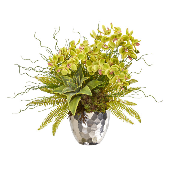 25 Phalaenopsis Orchid Succulent and Fern Artificial Arrangement in Silver Vase - SKU #1980 - 4