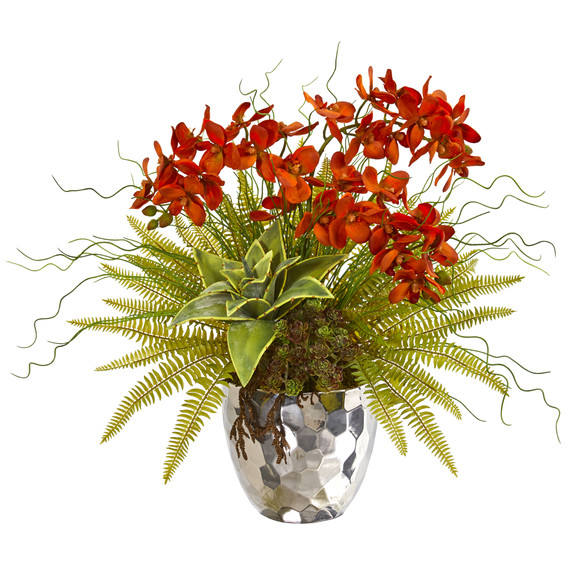 25 Phalaenopsis Orchid Succulent and Fern Artificial Arrangement in Silver Vase - SKU #1980 - 2