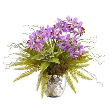 25 Phalaenopsis Orchid Succulent and Fern Artificial Arrangement in Silver Vase - SKU #1980