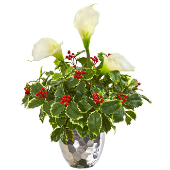 Calla Lilly and Holly Leaf Artificial Arrangement in Silver Vase - SKU #1981