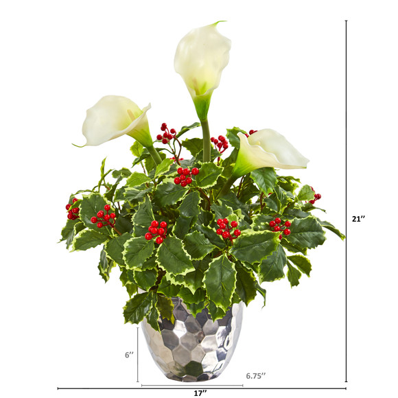 Calla Lilly and Holly Leaf Artificial Arrangement in Silver Vase - SKU #1981 - 1
